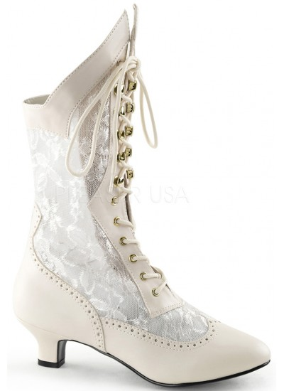 Victorian Dame Ivory Lace Boot at Step Out of Time Steampunk and More, Steampunk Costumes, Victorian Clothing, Pirate Costumes, Renne Faire Clothing