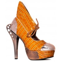 Astro Orange Snakeskin Platform Steampunk Pump - Size 10