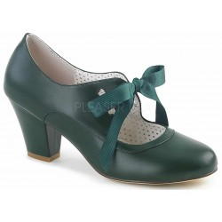 Wiggle Vintage Style Mary Jane Shoe in Forest Green Step Out of Time Steampunk and More Steampunk Costumes, Victorian Clothing, Pirate Costumes, Renne Faire Clothing